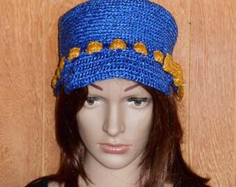 Hat crocheted in blue raffia