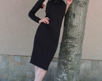 Black Dress /Dress mod BILQNA / One Shoulder Dress /  Little Black Dress / Pencil Dress / Prom Dress / Party Dress