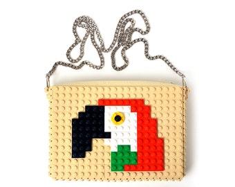 Tan crossbody purse with parrot made with LEGO® bricks FREE SHIPPING handbag trending fashion gift party wedding retro