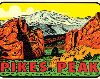 Vintage Style Pikes Peak Colorado colorful  Travel Decal sticker