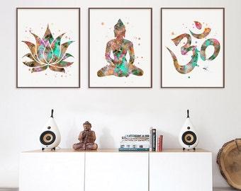 Buddha Wall Decor Buddhist Art 3 Prints Set Lotus Om Symbol Buddha Yoga Studio Yoga Wall Decor Meditation Art Zen Art Watercolor  sc 1 st  Etsy & Yoga wall decor | Etsy