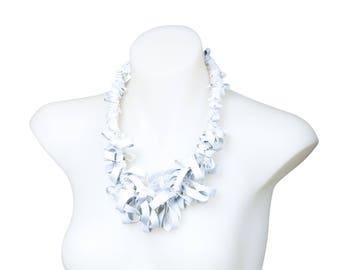 rubber neck piece, ruffle necklace,  cream avant garde collar