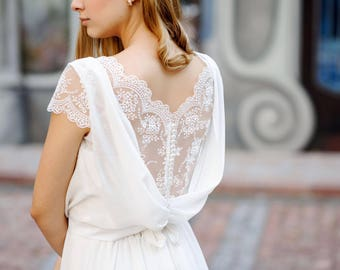 Distinguished cowl cut back chiffon and lace wedding dress, bridal separates, vintage wedding dress, bohemian wedding dress, bridal gown.