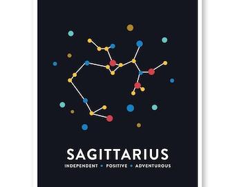Constellation Art, Sagittarius Zodiac Print, Sagittarius Astrological Star Sign, Modern Art Print, Nursery Art, Star Map, Sagittarius Print