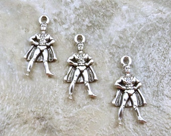 3 Pewter Super Hero Charms - Free Shipping in the US - (0460)