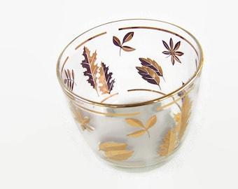 Vintage Mid Century Glass Ice Bucket Golden Foliage Barware