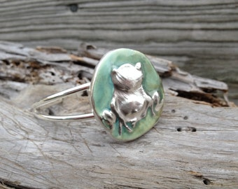 Frog Bracelet in silver and clay