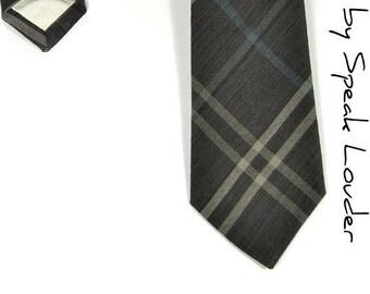 Men Necktie Woven yarn dyed black checkered, blue and cream tie