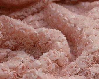 Lace Fabric 3D Pink Chiffon Small Rose Soft Lace Wedding Fabric 51.18'' width 1/2  yard