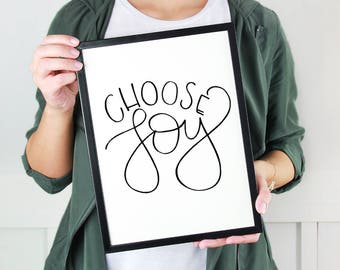 Choose Joy Printable   Handlettering   Print   Digital Download   Joy   Joyful   Christmas Print   Holiday Print   Calligraphy   Handmade
