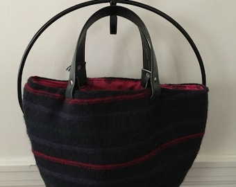 Striped Felted Wool Tote Bag