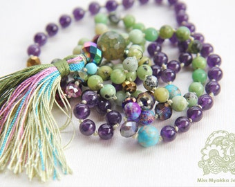 Mala, Knotted Mala, Necklace, Meditation, Prayer,  Yoga, 8mm, Healing, Amethyst, Chrysoprase, Cleaning Aura, Prosperity, Joy