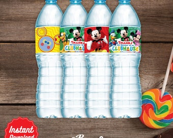 Clubhouse Water Labels, Printable Water Bottle label, Mickey Mouse Clubhouse Birthday decoration, instant download, DIY, Clubhouse Party