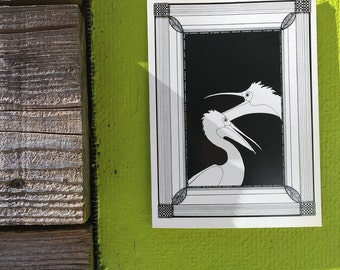 Vintage art nouveau style pelican illustrated greeting card