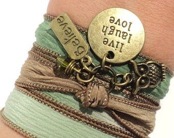 Yoga Silk Wrap Bracelet Live Laugh Love Inspirational Believe Owl Green Brown Jewelry Upper Arm Band Unique Gift For Her Under 30 Item V45