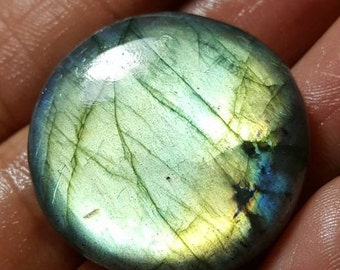 Labradorite natural plain coinshape cabochon - Approx- 28.5mm x 7mm