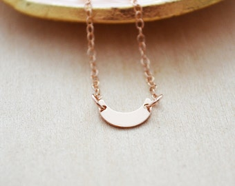 Crescent Moon Necklace - Rose Gold Jewelry - Rose Gold Crescent Moon Necklace - Layering Celestial Necklace - Layered Jewelry