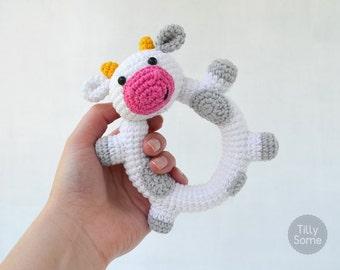 Happy Cow Rattle Pattern | Crochet Rattle Toy | Baby Rattle | Teether Pattern | Infant Rattle PDF Crochet Pattern