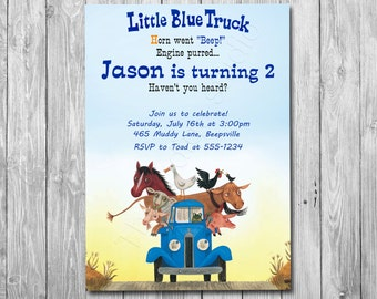 Little Blue Truck Invitation, Option with photo Little Blue Truck Birthday, all ages - Digital file YOU print