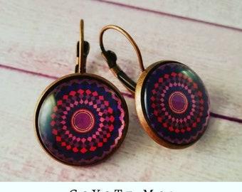 Mandala earrings, Glass cabochon, cameo earrings, mandala, pendant earrings