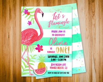 Flamingo invitation, Let's Flamingle invitation, Flamingo birthday invitation, Flamingo party invitation, Summer invitation