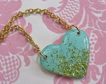 Aqua and Gold Glitter Heart Necklace