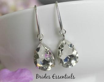 Bridal Rhinestone Earrings, Wedding Earrings, Crystal Drop Earrings, Dangle Earrings, Silver Earring, Bridal Earring, Silver Wedding Jewelry
