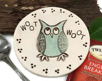 Owl Spoon Rest / Jewelry Dish - Woot Woot