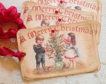Gift Tags Christmas Gift Tags Vintage Christmas Tree Children Toys Vintage Style Tags Shabby Chic Style Christmas Tags  Kids Christmas Tags