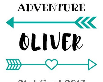 You are my Greatest Adventure - New Baby Announcement - cotton calico pennant