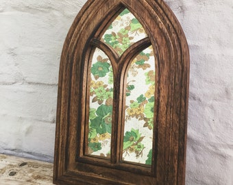 Cathedral window style wooden mirror