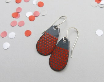 Gray Teardrop Earrings with Red Polka Dots - Enamel Jewelry for Everyday Wear - Sterling Silver Earwires - Gift for her