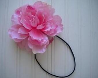 Pink Peony Headband with Black Elastic Band