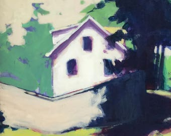 Behind the Scenes - 6x6 inches unframed original acrylic painting of a suburban home with a tall fence by Maryland artist Barb Mowery