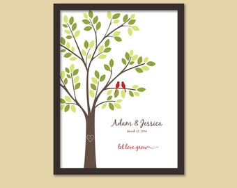 Let Love Grow, Anniversary Gift Tree/Wedding Gift Tree/Two Birds -  8x10, 11x14, and 12x16