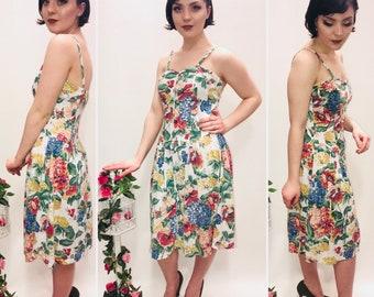 Vintage Dress, White Floral, size 10