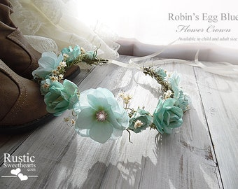 Robin's Egg Blue Flower Crown ~ Bridal Flower Crown ~ Bride, Bridesmaid, Flowergirl ~ Available in Child and Adult Size.