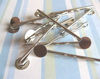 20pcs Bobby Pins with 10mm Pad - Silver