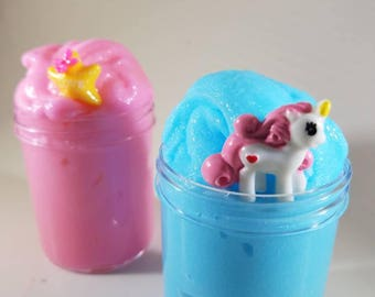 Unicorn Squishy Slime Duo - Scented Squishy / ICEE /  instant snow slime in pink and blue - Includes a cute unicorn and star charms
