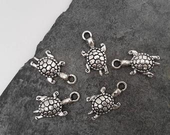 Sea turtle charms, marine animal pendants, silver, 22.5 x 12 mm