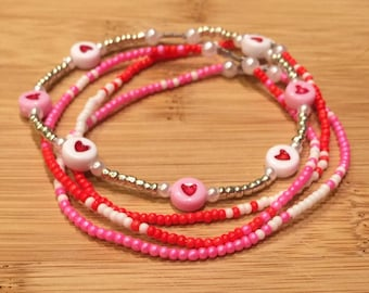Delicate stackable Valentine's Day beaded bracelets