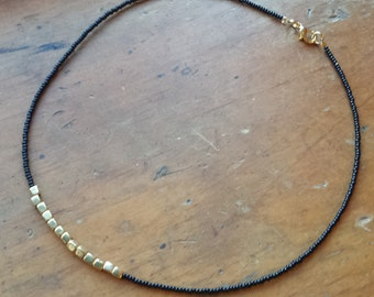Brass beaded necklace, thin black and gold necklace, seed bead necklace
