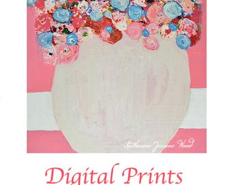 Pink Cottage Chic Floral Digital Print. Flower Painting Print. Dining Room Decor. Romantic Gift for Wife. 124