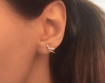 Dainty Huggies. Rosegold Huggie Hoops. Mini huggies Studs. Hoop Stud Earrings