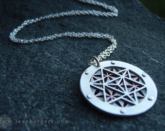 Small Star Tetrahedron and Flower of Life pendant - copper and sterling silver - Handcrafted Sacred Geometry Jewellery