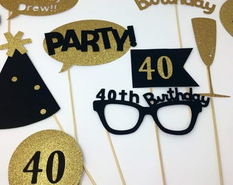 Photo Booth - Party Decorations - Photo Props - Birthday Party - 40th 18th 21st 25th 30th birthday - Bridal Shower - Happy New Year- Gold