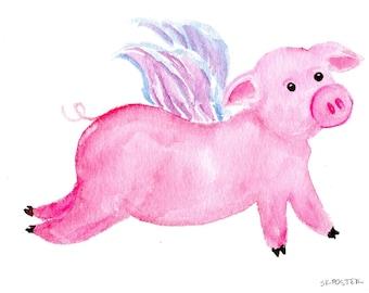 Flying Pig watercolor painting original -  pink flying pig with wings 5 x 7 flying pig art, pig painting