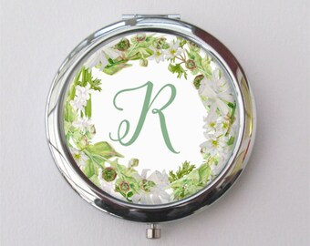 Greenery Wedding Compact, Personalized Bridesmaid Gift, Compact Mirror
