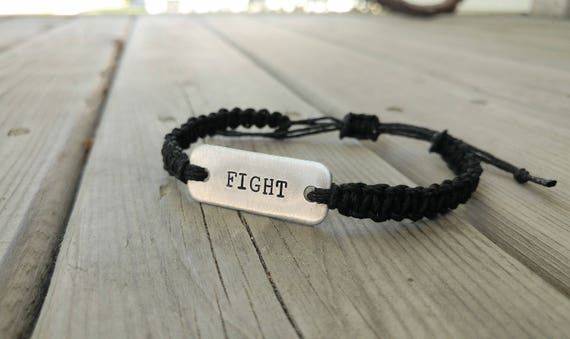 FIGHT hand-stamped adjustable hemp bracelet