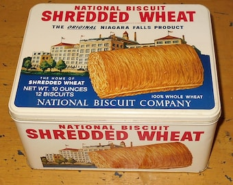 Vintage Natinal Biscuit Shredded Wheat Tin Container - Shredded Wheat - Nabisco 1987